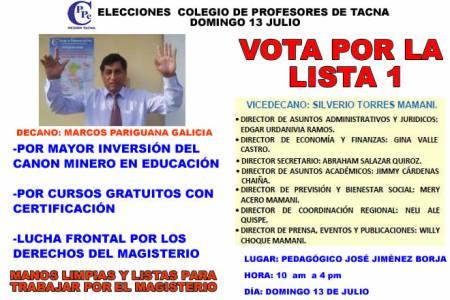 ELECCIONES COLEGIO DE PROFESORES REGION TACNA