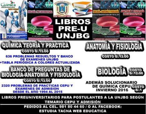 LIBROS PREUNIVERSITARIOS UNJBG QUIMICA Y BIOLOGIA Y ANATOMIA Y ...