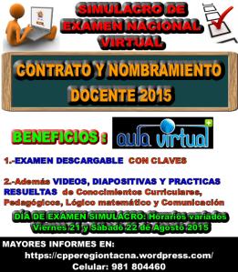 SIMULACRO DE EXAMEN CONTRATO Y NOMBRAMIENTO DOCENTE 2015 VIRTUAL NACIONAL